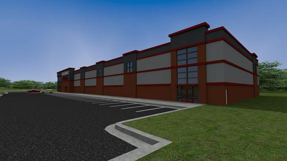 artist rendering of self-storage facility
